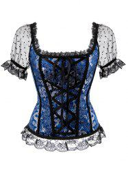 Plus Size Lace Short Sleeves Polka Dot Overbust Top -