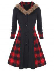 Plus Size Faux Fur Collar Buttons Plaid Spliced Skirted Coat -