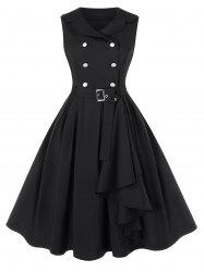 Plus Size A Line Turn-down Collar Vintage Dress with Belt -