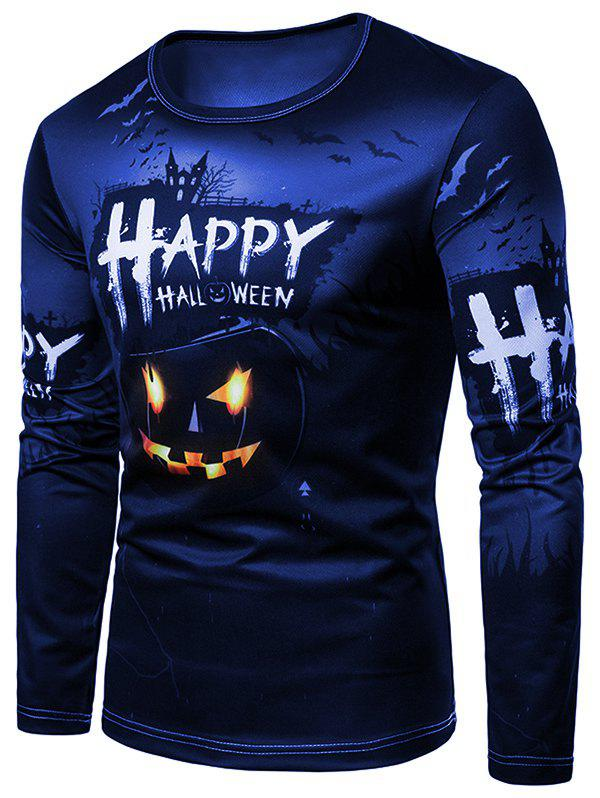Shop Happy Halloween Pumpkin Print Tee Shirt