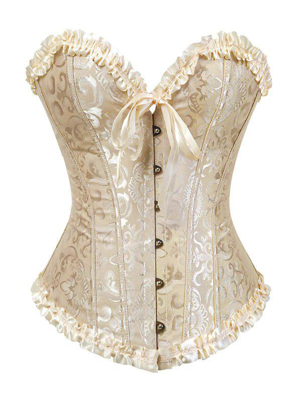 Affordable Plus Size Bowknot Flounce Lace Up Corset