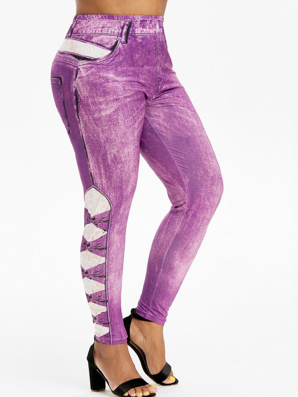 Affordable Pull On Printed High Waisted Plus Size Jeggings
