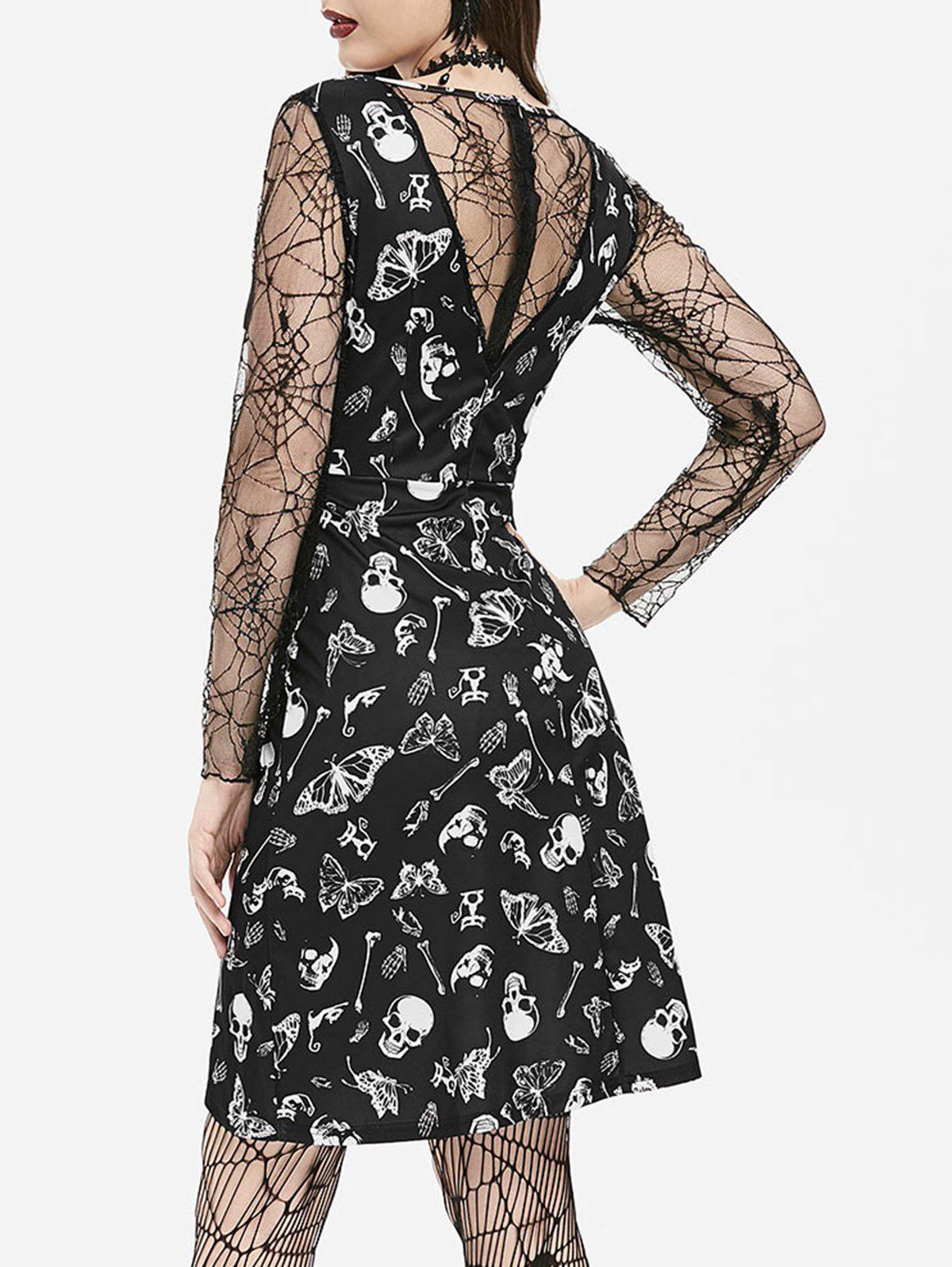 Fashion Cobweb Lace Skull Moth Mini Halloween Dress
