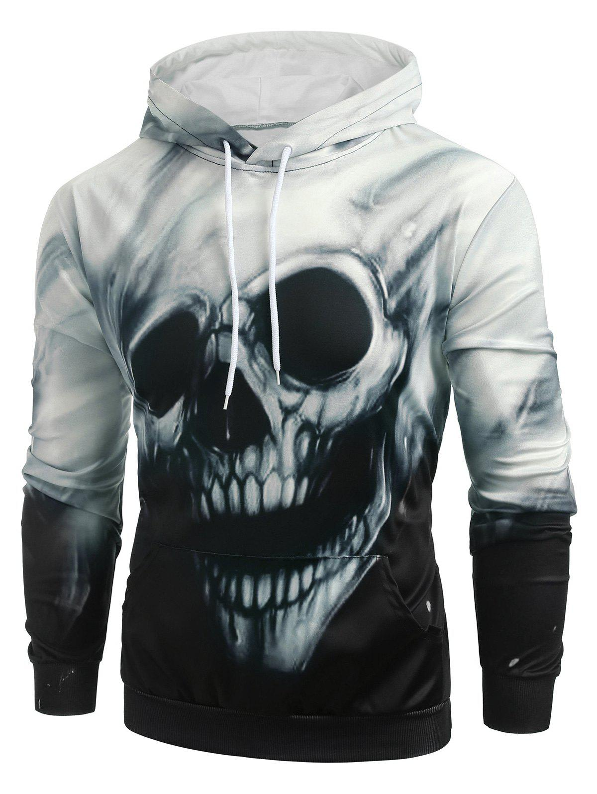Online Halloween Skull Graphic Kangaroo Pocket Hoodie