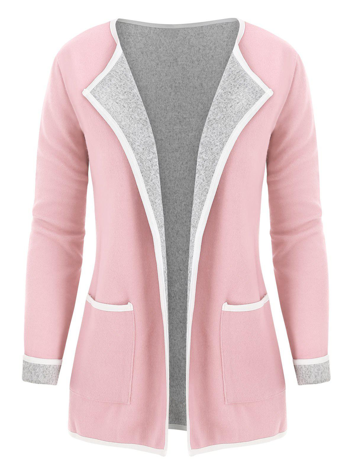 Chic Cuffed Sleeves Heathered Pokcets Cardigan