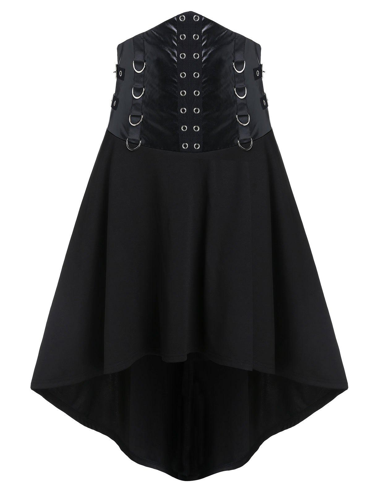 Store Gothic D Rings Grommets High Low Punk Skirt