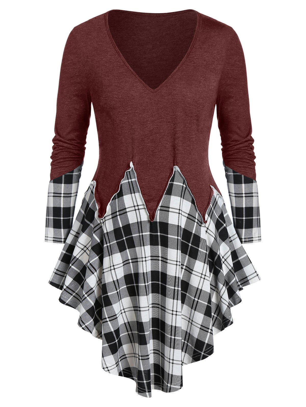 Plus Size Asymmetrical Plaid Long Sleeve Tunic Tee Rosegal