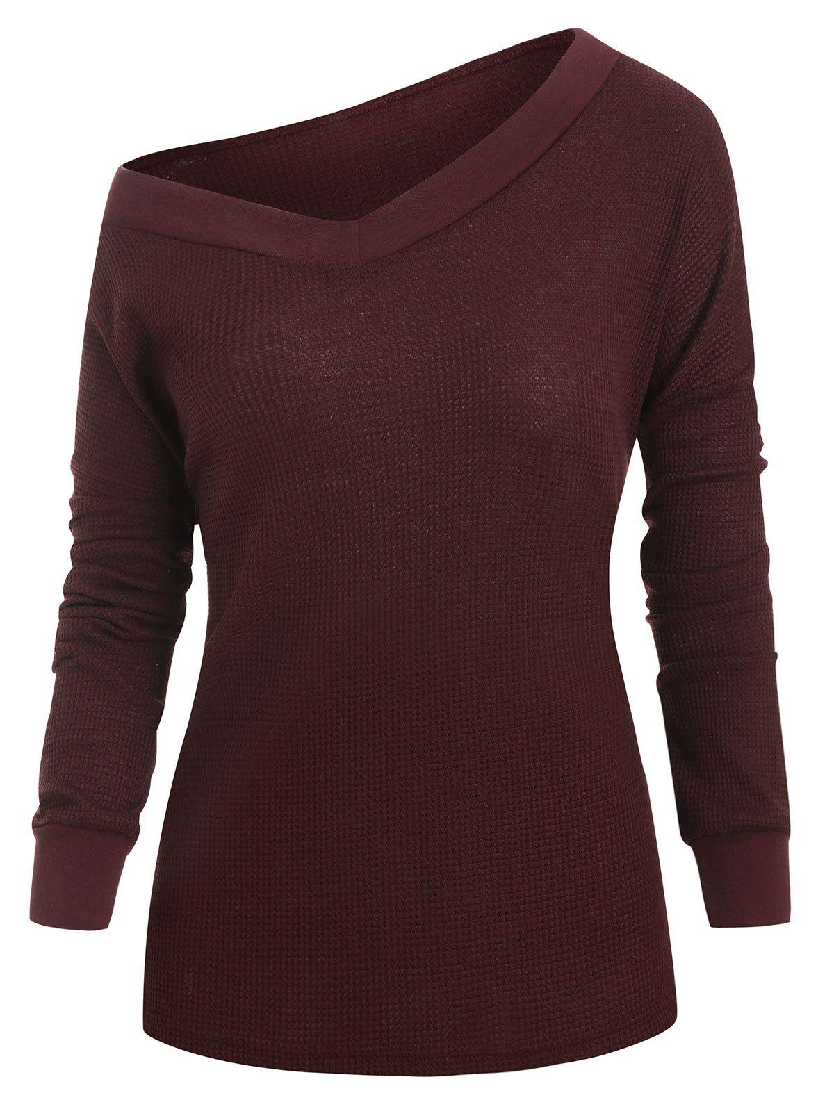 Discount V Neck Solid Drop Shoulder Knitwear