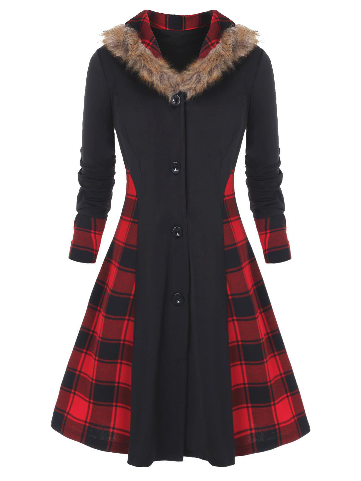 Shops Plus Size Faux Fur Collar Buttons Plaid Spliced Skirted Coat