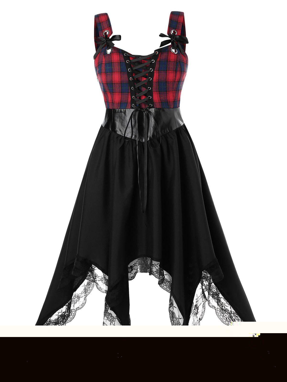Outfit Plus Size Asymmetrical Plaid Lace Up Handkerchief Lace Panel Dress