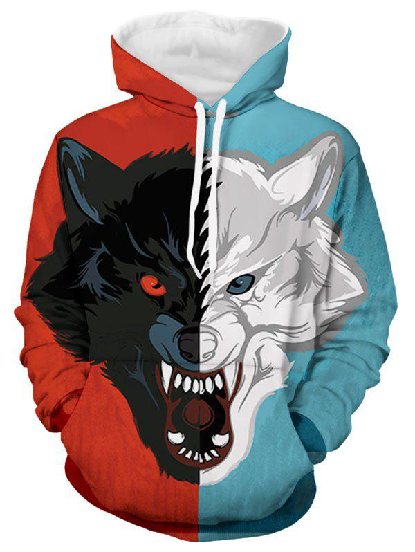 Fashion Color-blocking Dog Print Long-sleeved Hoodie