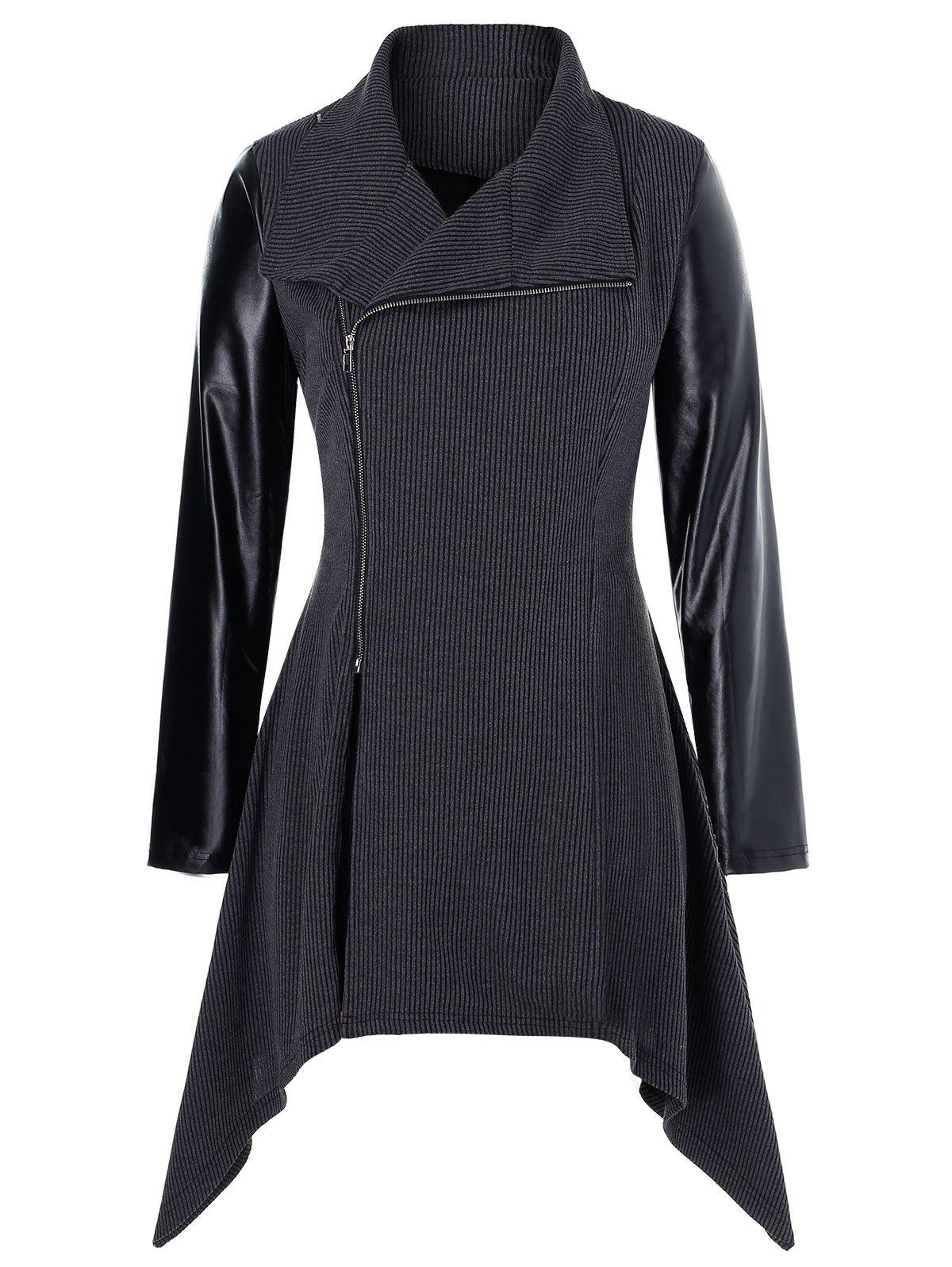 Chic Plus Size PU Leather Panel Asymmetrical Zipper Knit Coat