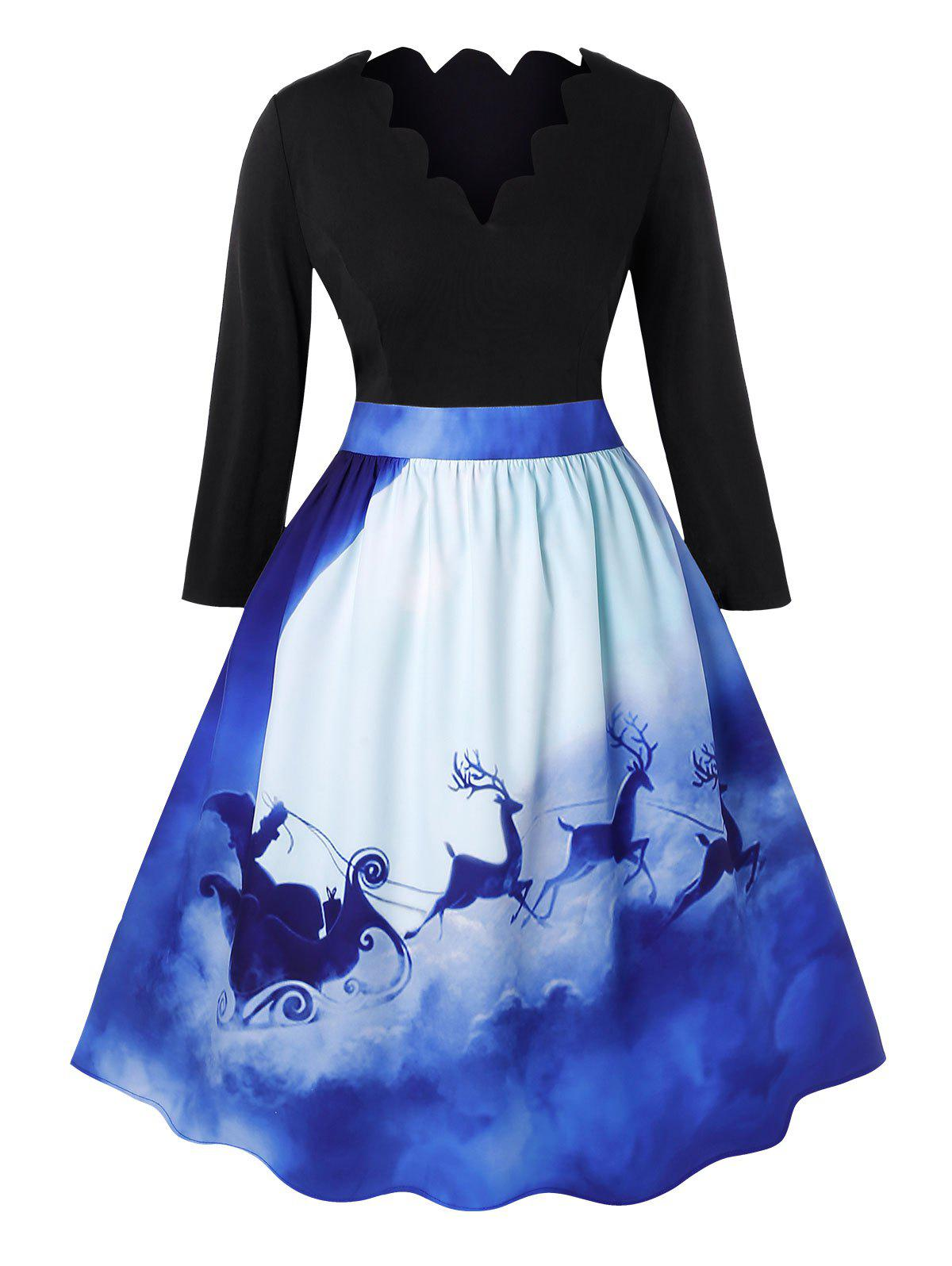 Online Plus Size Vintage 3D Elk Print Scalloped Christmas Dress