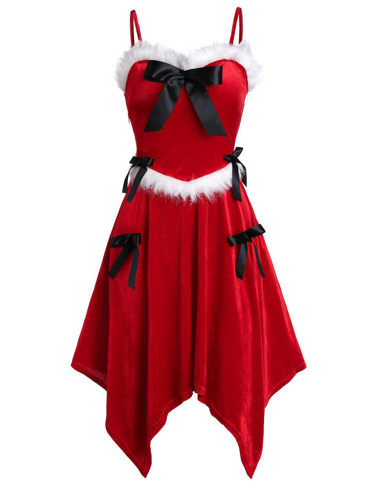 Sale Christmas Asymmetrical Spaghetti Strap Bowknot Dress