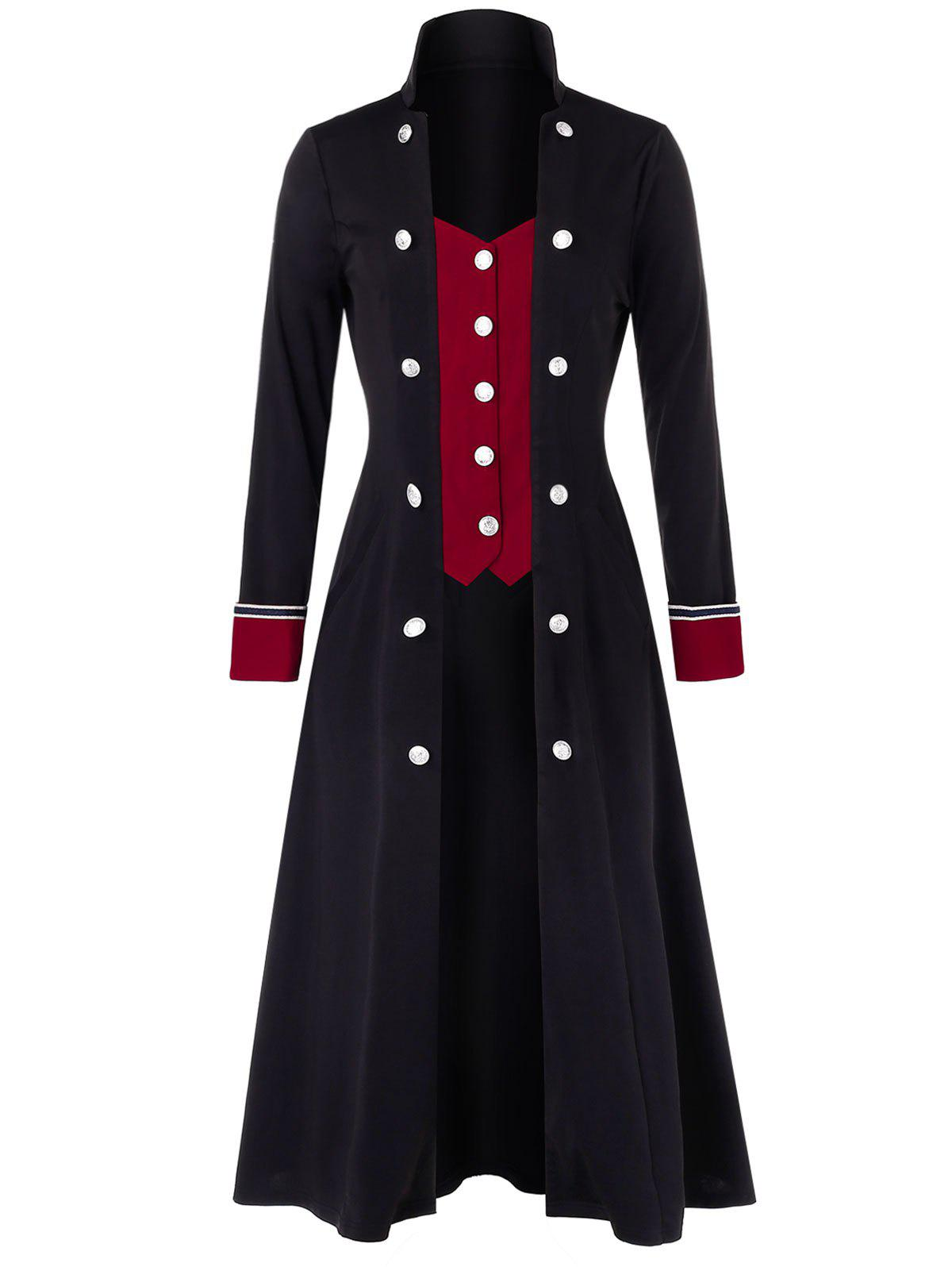 Latest Plus Size Buttoned Two Tone Stand Up Collar Long Coat