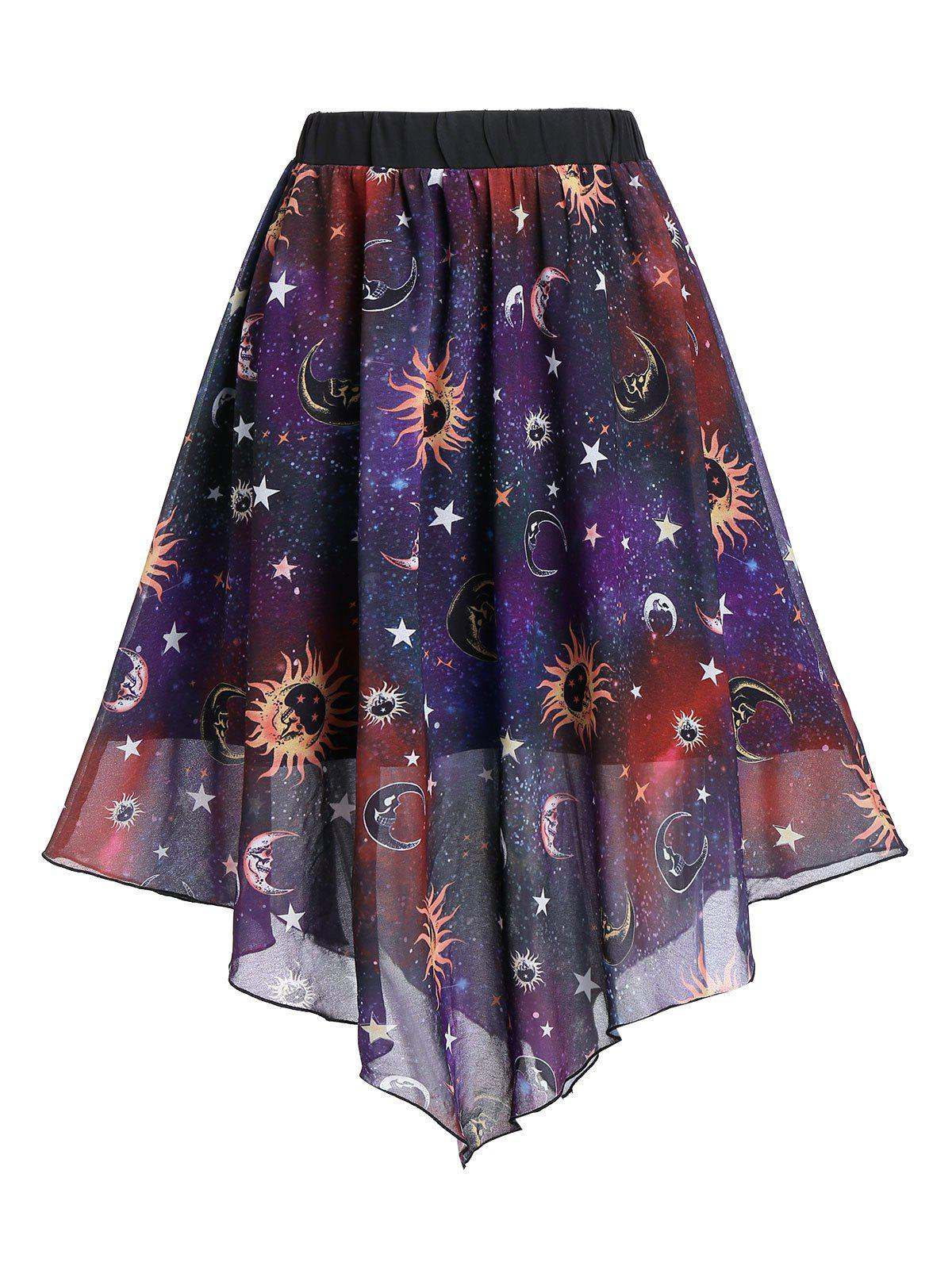 Unique Sun And Moon Print Elastic Waist Asymmetric Skirt