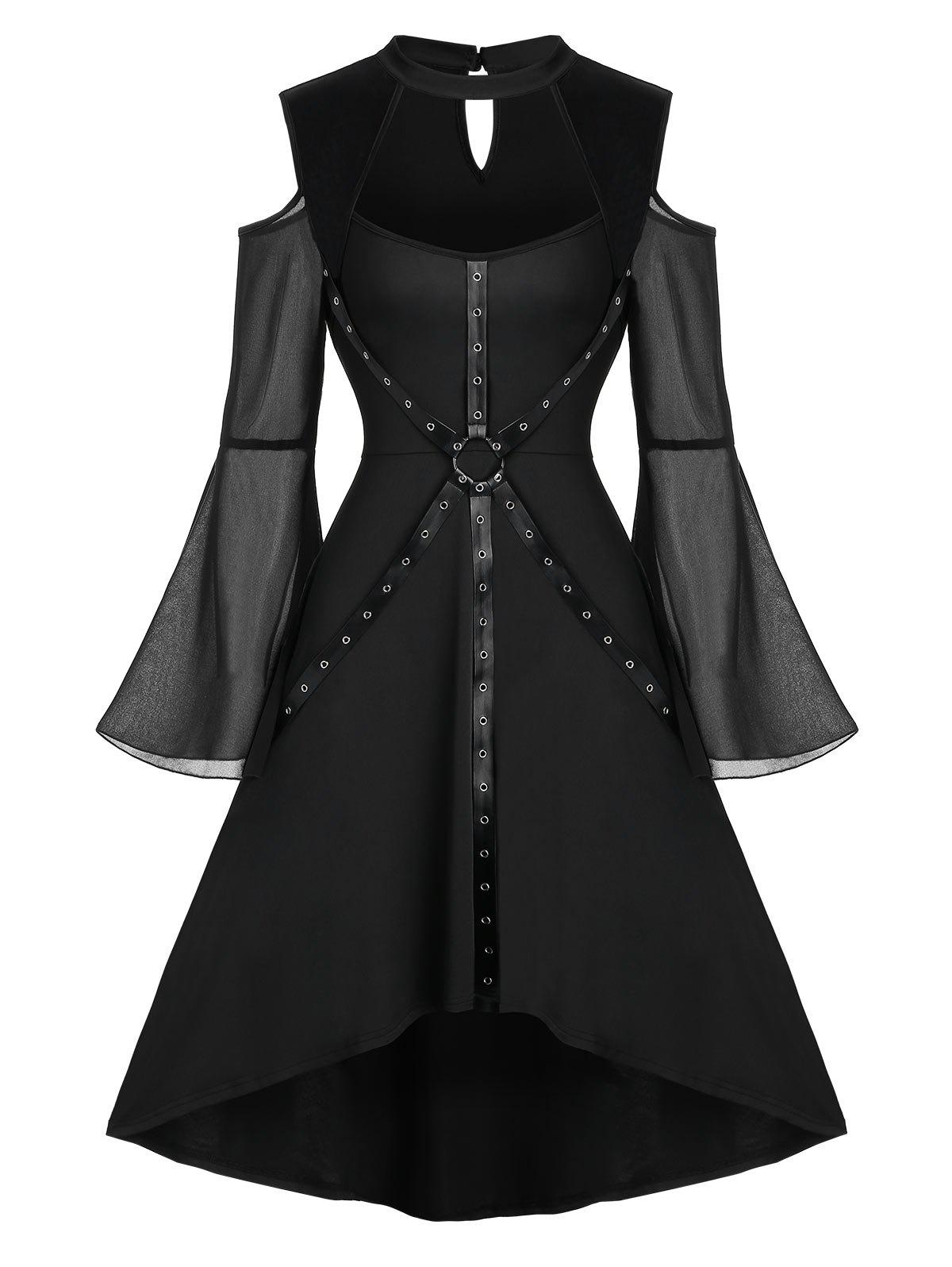Unique Halloween Bell Sleeve Cut Out Harness Grommet Gothic Dress