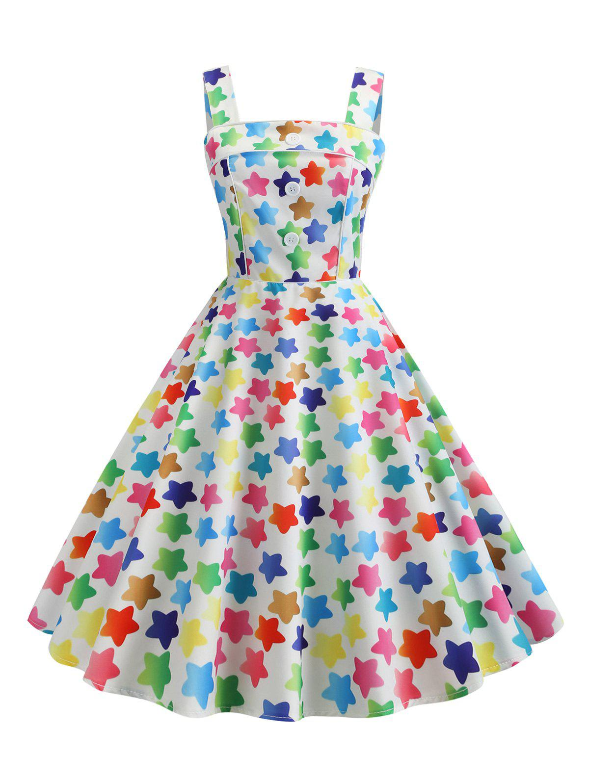 Fashion Mock Button Star Print Vintage Flare Dress