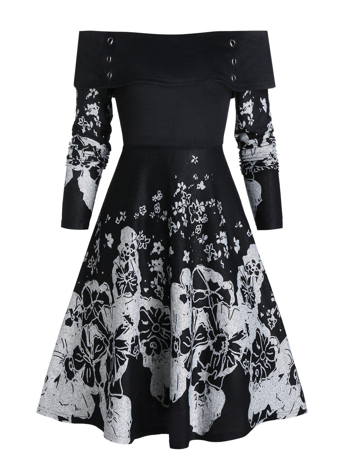 Best Off The Shoulder High Waist Fit And Flare Dress