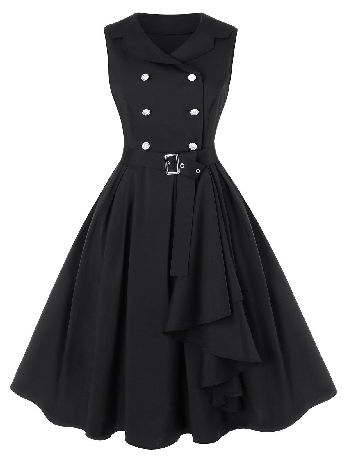 Trendy Plus Size A Line Turn-down Collar Vintage Dress with Belt