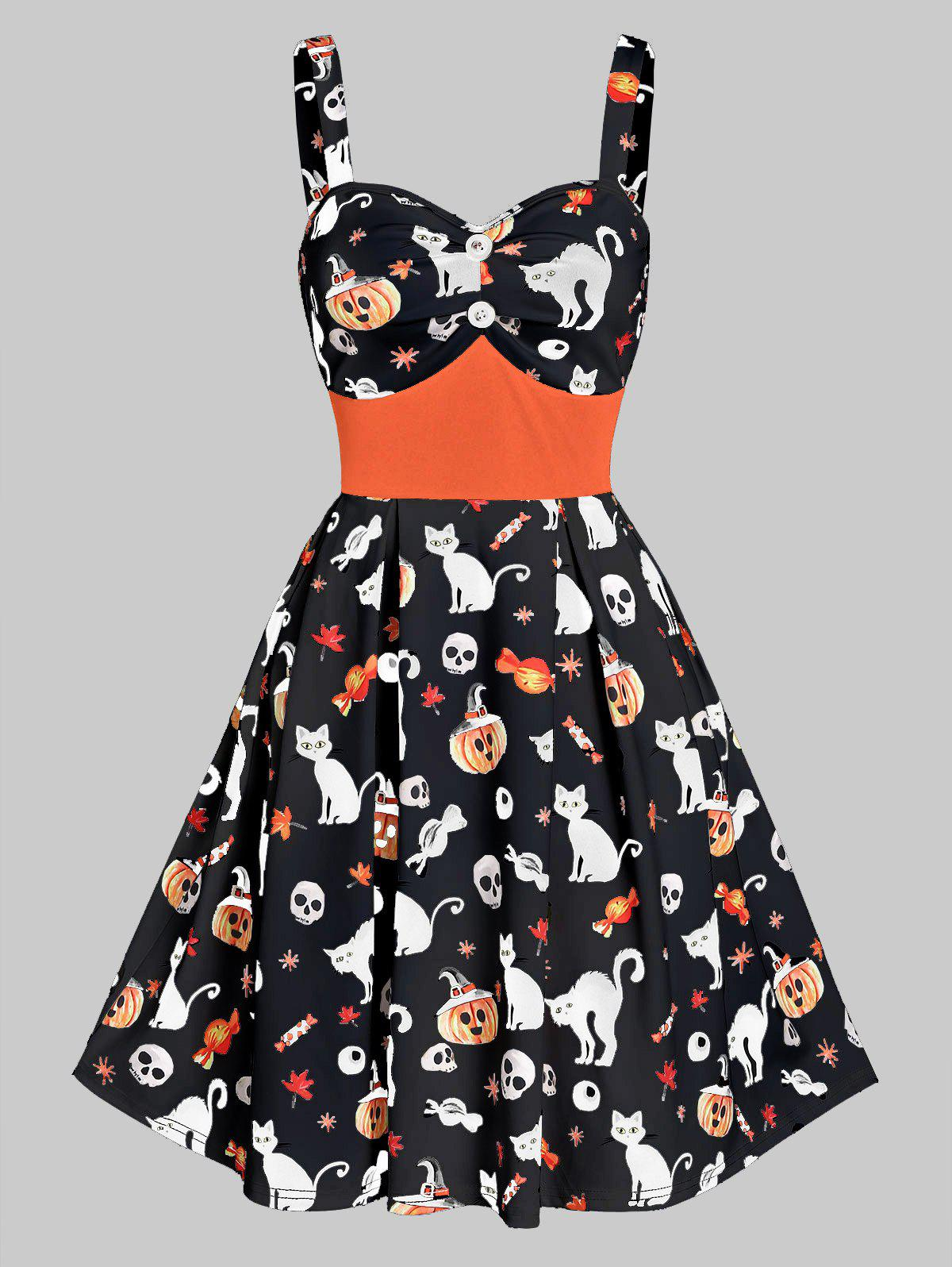 Buy Sweetheart Neck Cat Pumpkin Print Fit And Flare Halloween Dress