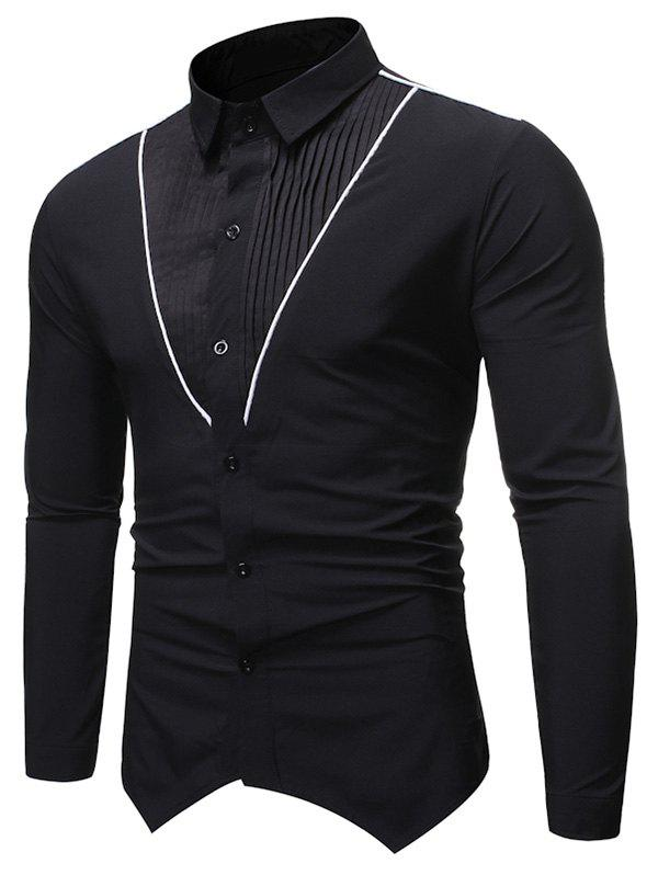 Fashion Pleated Contrast Trim Spliced Button Up Basic Shirt