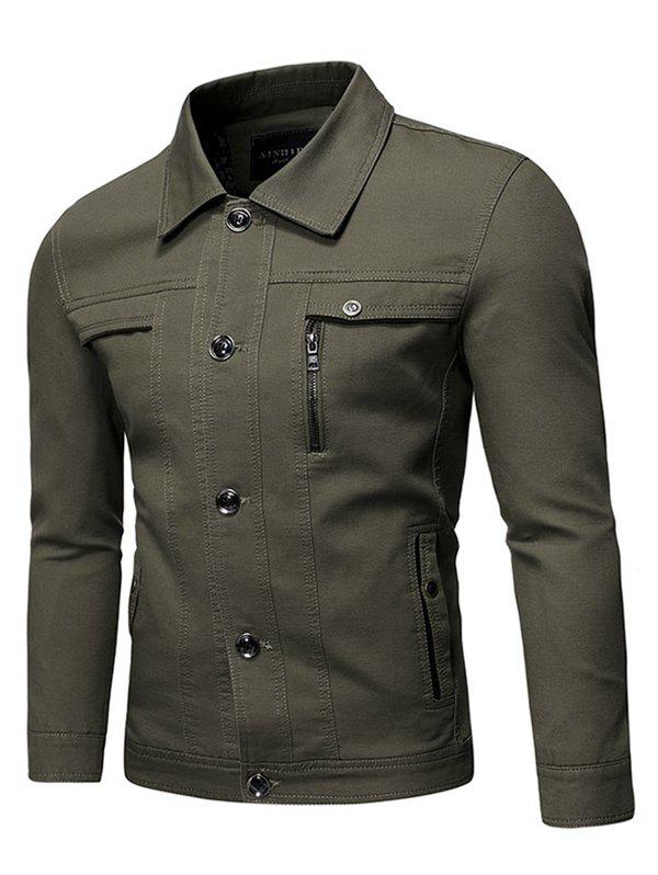 Outfits Solid Faux Chest Pocket Turn Down Collar Button Jacket
