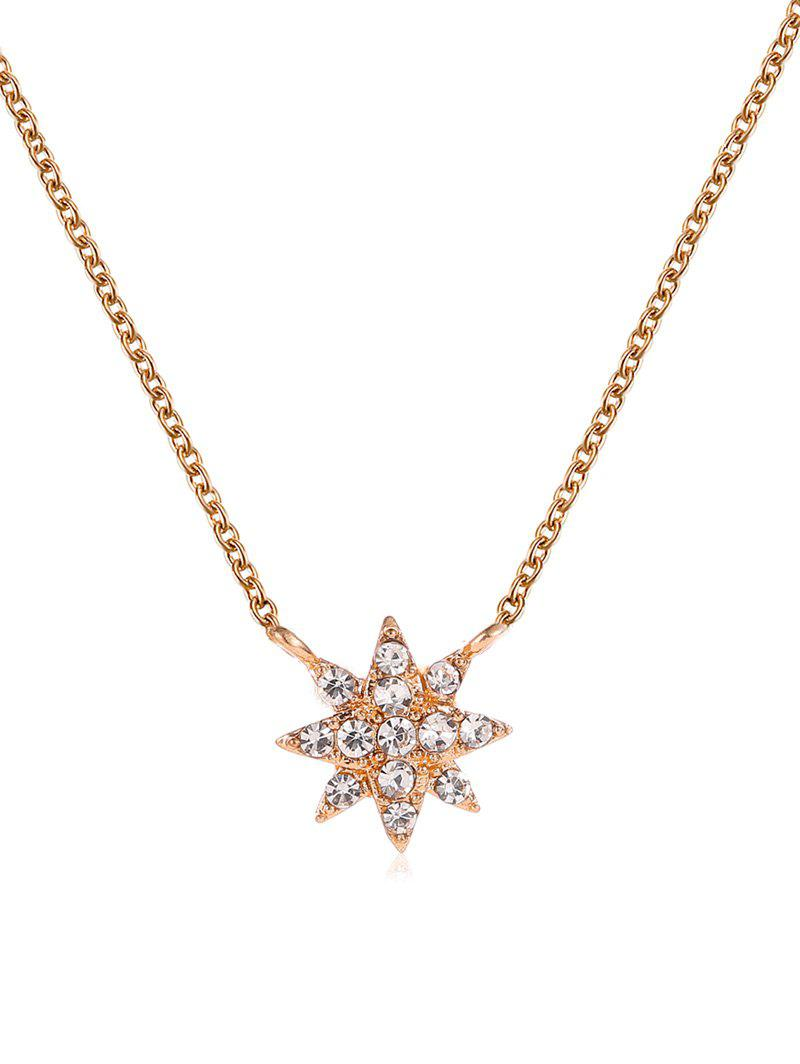 Hot Rhinestone Eight Pointed Star Pendant Necklace