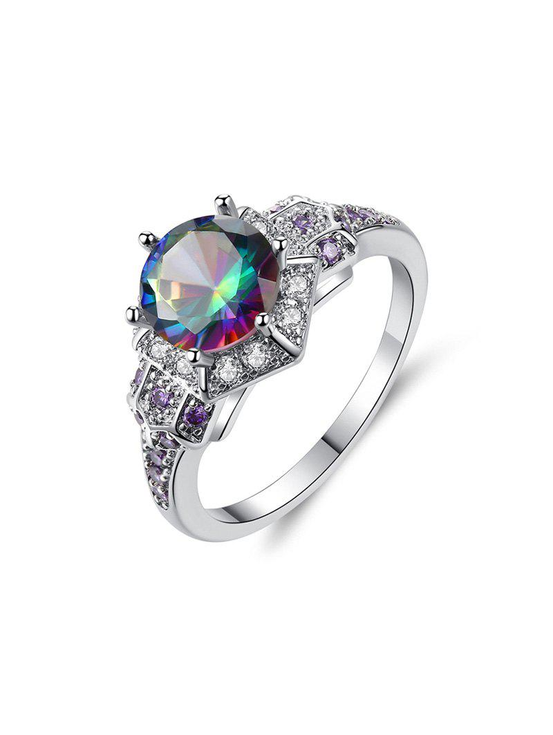 Chic Round Zircon Micro Pave Metal Engagement Ring