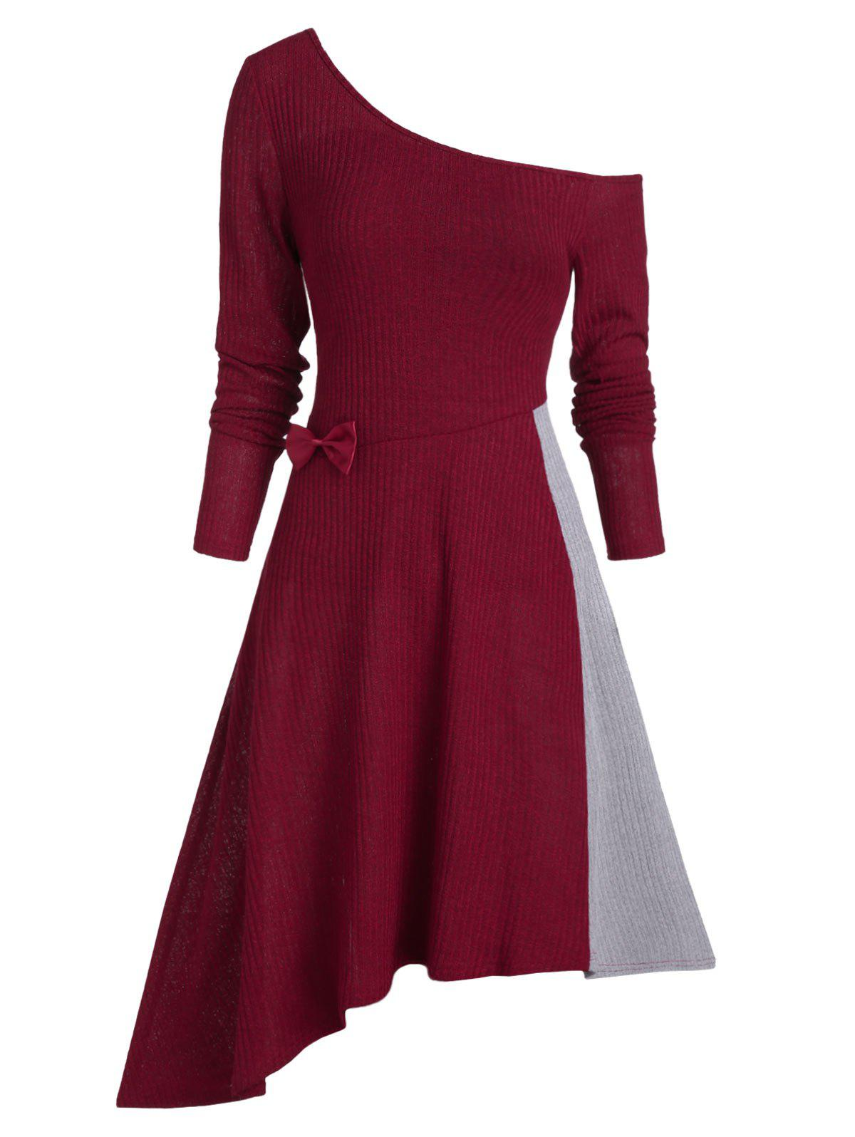 Cheap Skew Collar Long Sleeve Contrast Dress