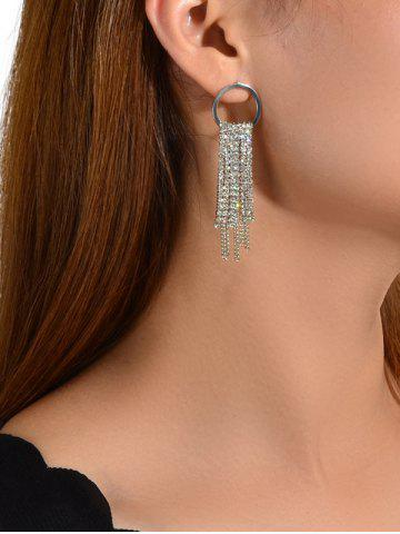 Circle Rhinestone Tassel Chain Dangle Earrings