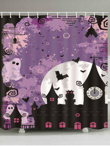 Waterproof | Halloween | Bathroom | Curtain | Shower | Print | Moon