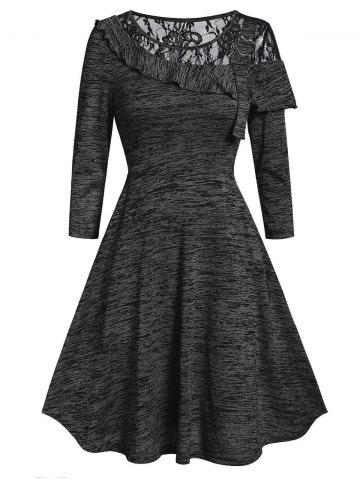 Lace Panel Space Dye High Waist A Line Dress