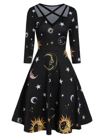 V Neck High Waist Sun and Moon Print Dress