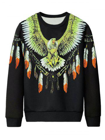 Plus Size Eagle and Feathers Print Pullover Sweatshirt