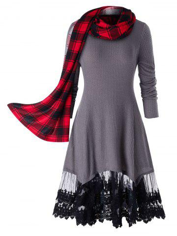 Plus Size Lace Trim Long Tunic Knitwear With Plaid Scarf