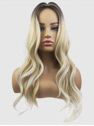 Middle Part Capless Long Wavy Colormix Synthetic Wig -