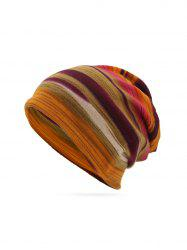Striped Print Knitted Double Use Scarf Hat -