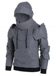 Drawstring Front Pocket Knight Soldier Hoodie -