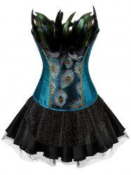 Plus Size Peacock Feather Sequined Corset with Tiered Skirt -