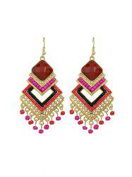 Bohemian Geometric Fringe Beads Rhinestone Earrings -