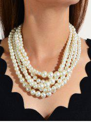 Multilayered Faux Pearl Chunky Necklace -