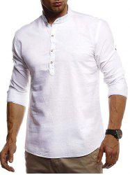 Stand Collar Henley Linen Long Sleeve Shirt -