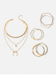 Multilayered Crescent Moon Necklace And Simple Hoop Earrings Set -