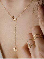 Simple Moon Star Chain Necklace And Rings Set -
