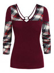 V Neck Plaid Panel Long Sleeve T Shirt -