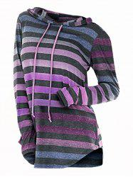 Striped Hooded Drawstring Longline Knitwear -
