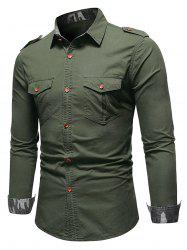 Camo Trim Button Up Cargo Shirt -