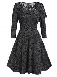 Lace Panel Space Dye High Waist A Line Dress -