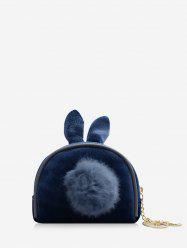 Fuzzy Ball Decorate Shell Shape Coin Bag -